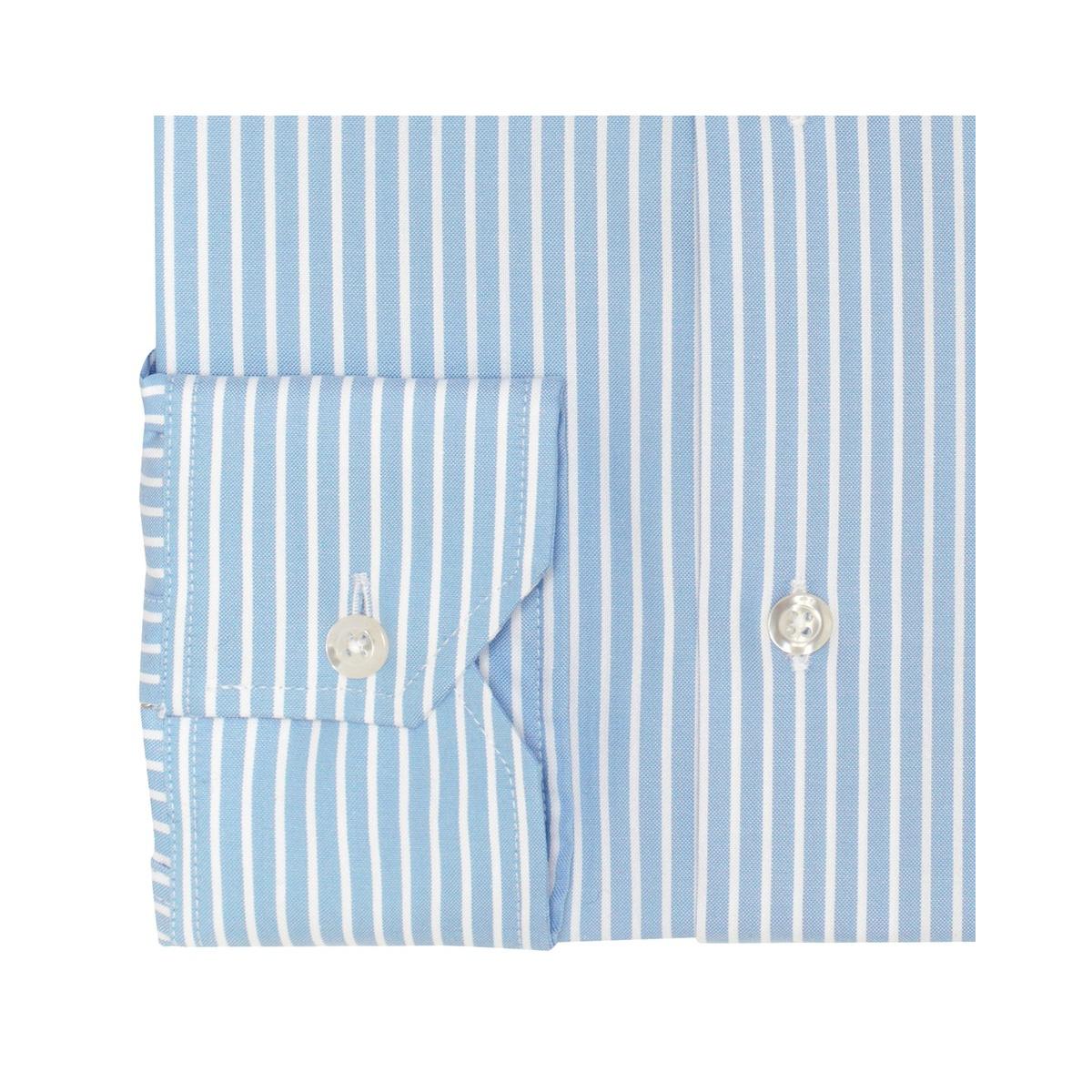 e43d703fbe Light-blue Shirt whit white stripe - 100% cotton - double twist oxford