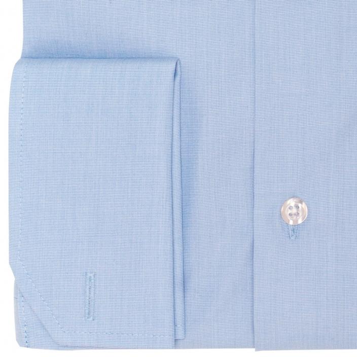 Chemise classique en popeline bleuet à poignets mousquetaires