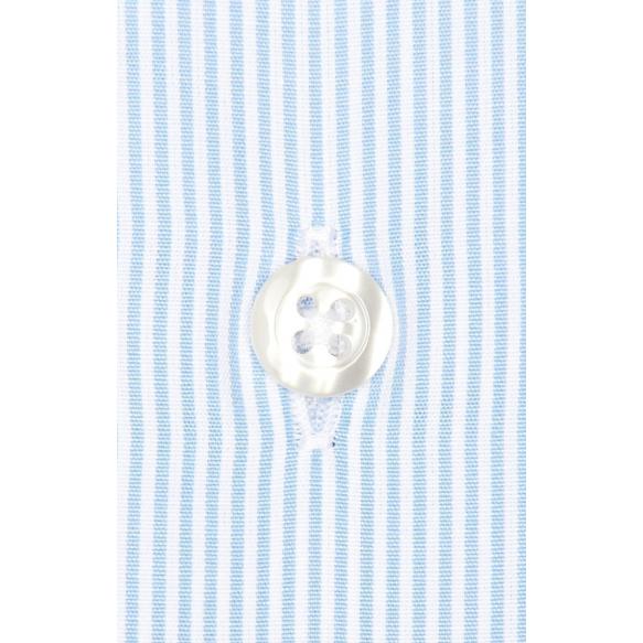 Chemise classique en popeline à rayures bleu clair poignets mousquetaires