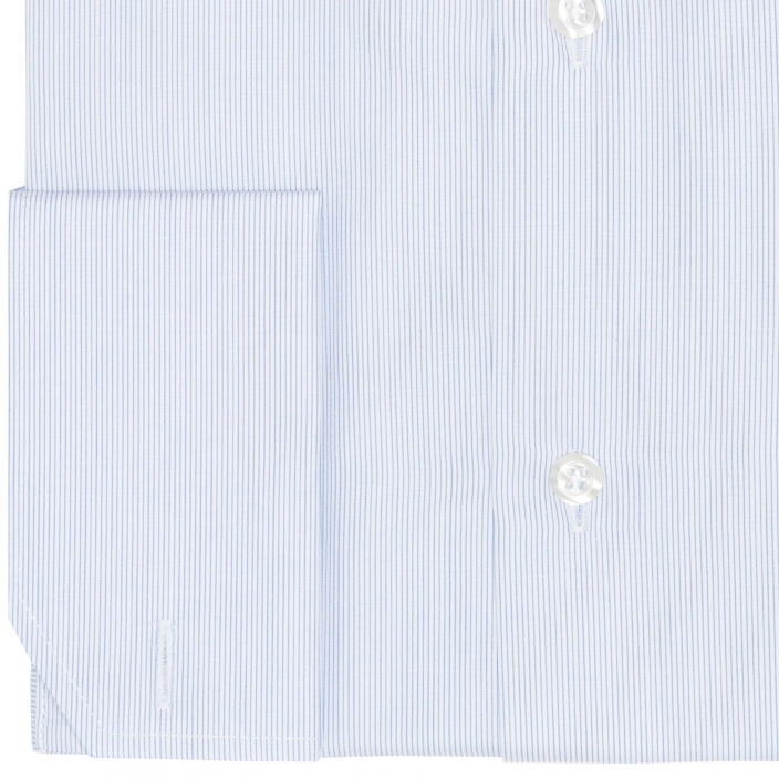 Double Cuff Blue Semi Plain Shirt