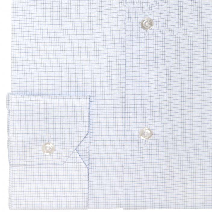 Chemise cintrée en twill à fins carreaux bleus