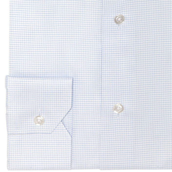 Extra-slim blue small check shirt