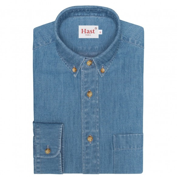 Linen-cotton denim shirt