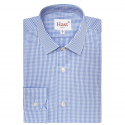 Extra-slim blue gingham shirt with french collar