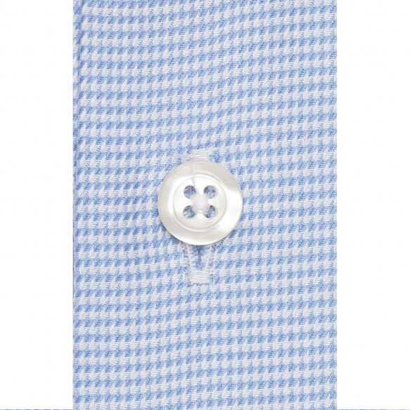 Chemise pied de poule bleu à col français