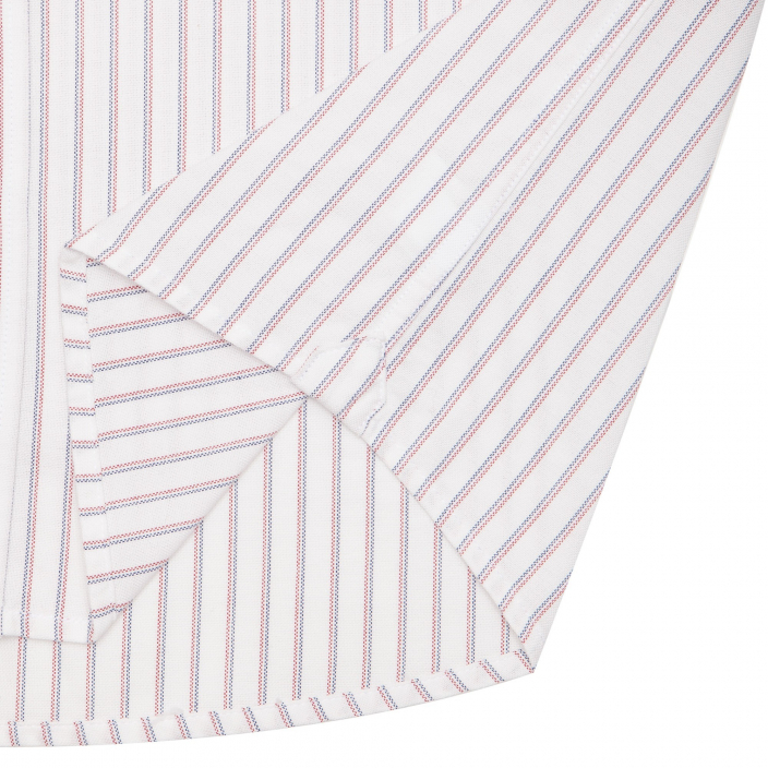 White shirt with blue red stripe