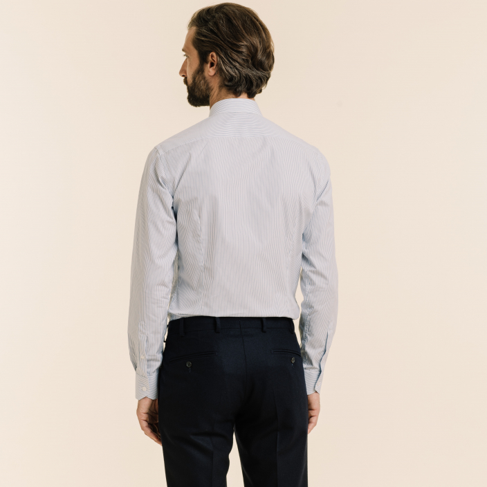 Extra-Slim Blue Striped Shirt With French Collar