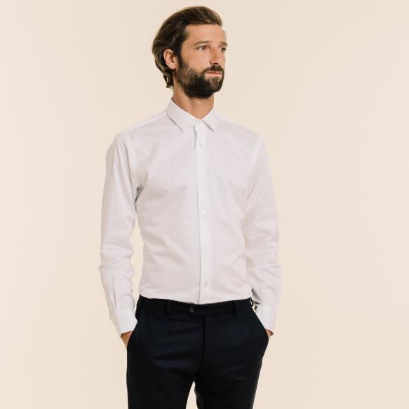Chemise cintrée en twill blanche