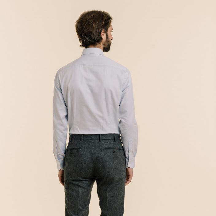 Extra-Slim Pied de Puce Blue Shirt