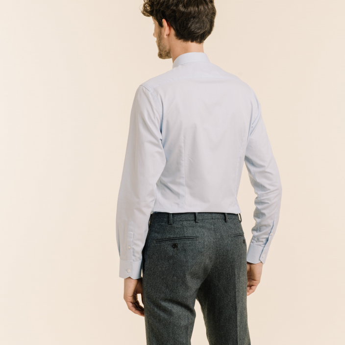 Slim fit light blue fil-à-fil shirt