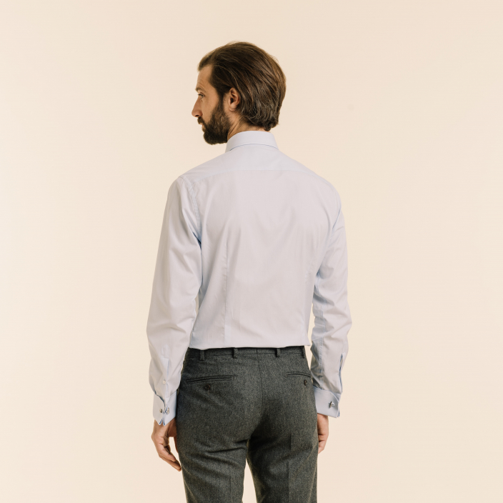 Extra-slim French cuffs light blue shirt