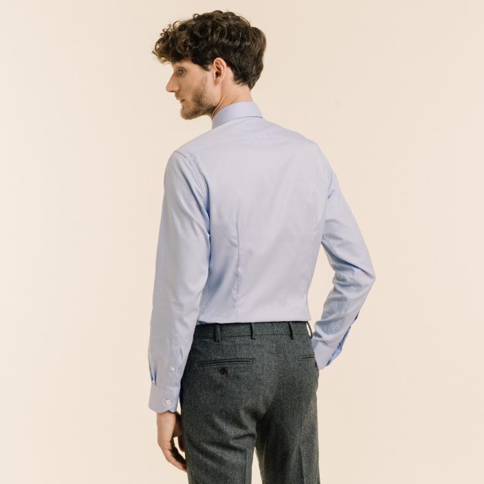 Slim fit premium blue twill shirt