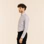 Slim fit premium micro houndstooth blue oxford shirt