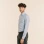 Slim fit premium light blue micro houndstooth oxford shirt