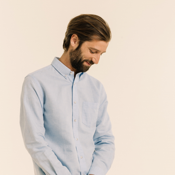 Linen and cotton blue shirt