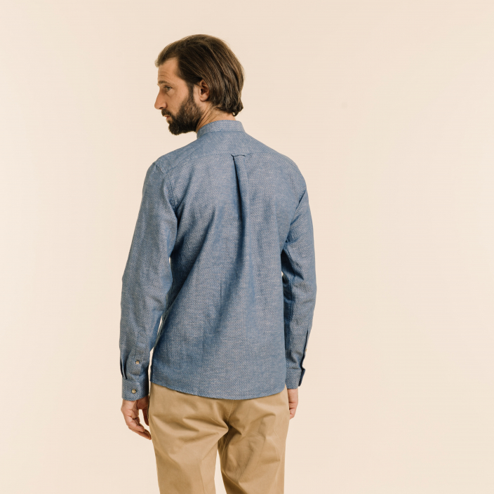 Blue oxford stand up collar shirt with dots