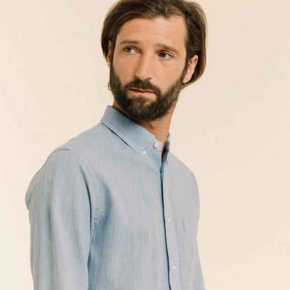 Chemise décontractée en fil à fil bleue