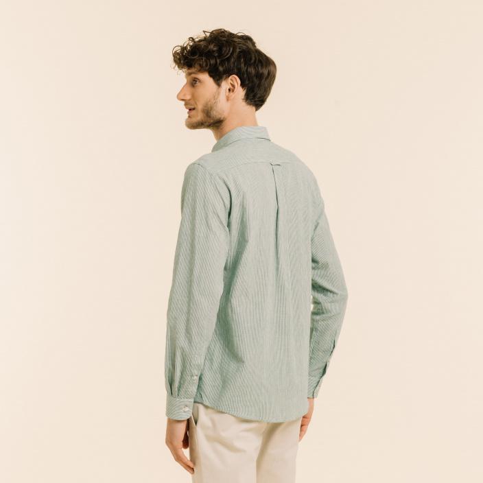Chemise décontractée en lin et ramie à rayures vertes