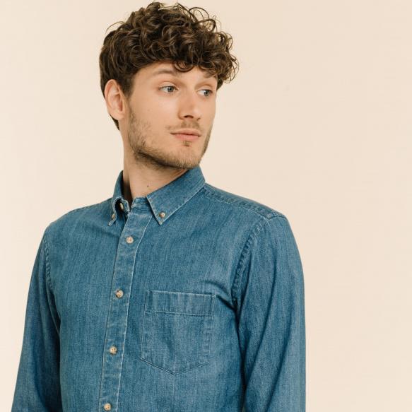 Relaxed fit blue denim shirt