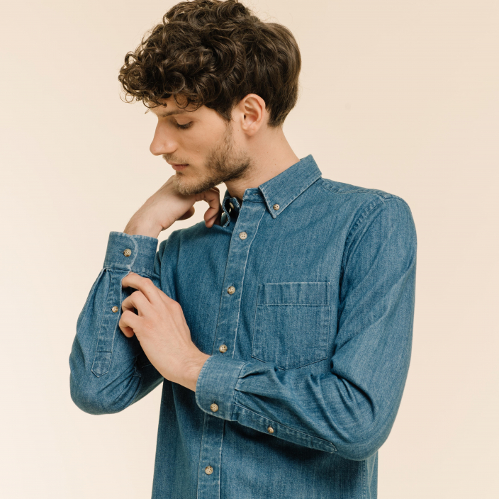 Relaxed fit blue denim shirt
