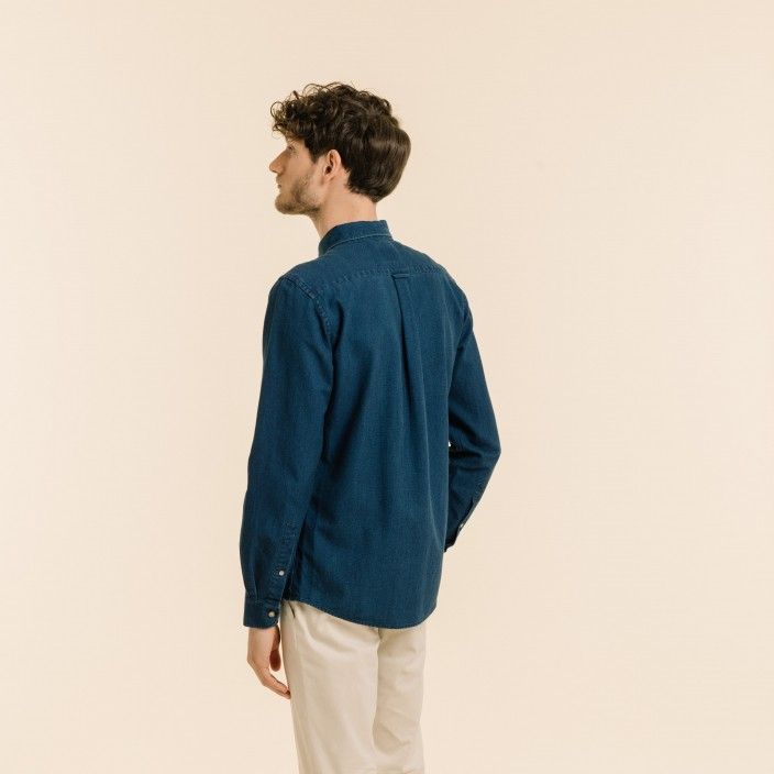 Relaxed fit blue dobby shirt