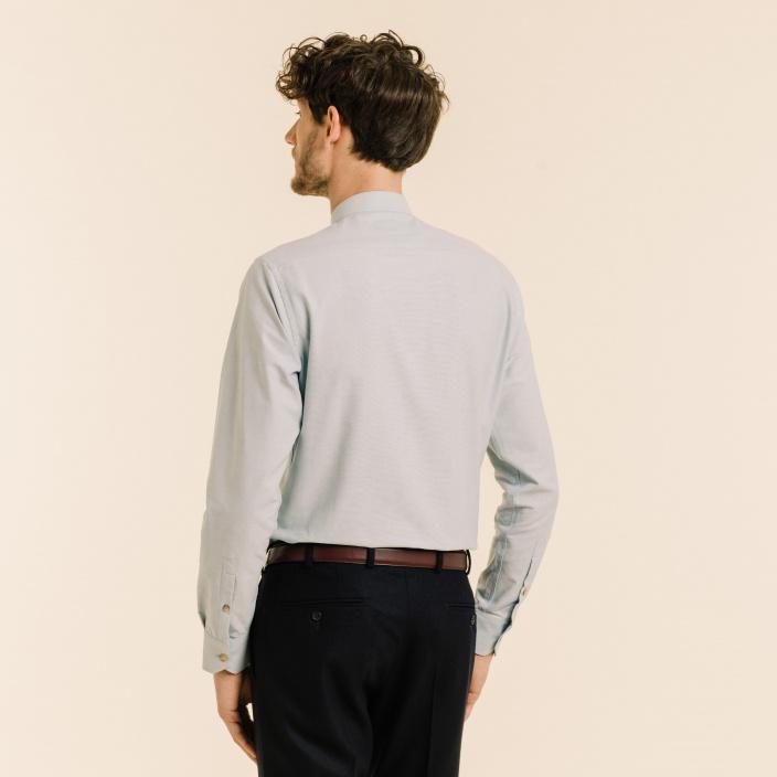 Stand up collar blue-grey oxford shirt