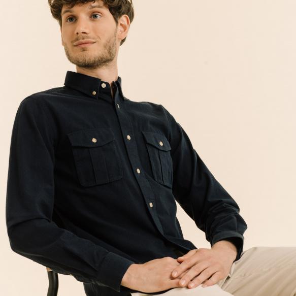 Chemise décontractée saharienne bleue