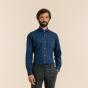 Chemise cintrée en fil-à-fil bleu nuit