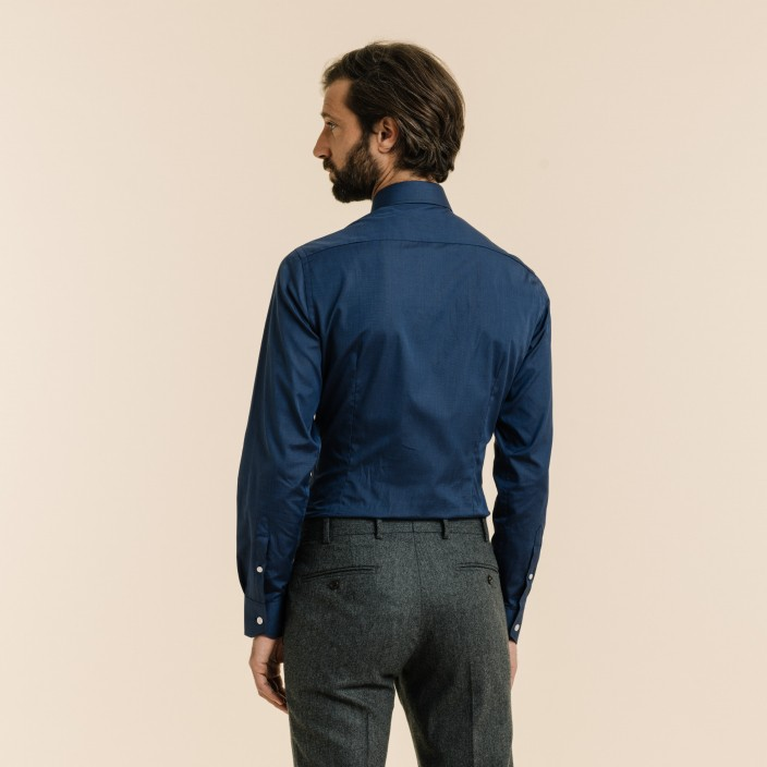 Slim fit midnight blue fil à fil shirt
