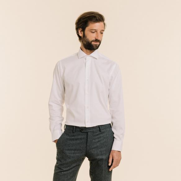 Chemise premium classique en pinpoint blanche