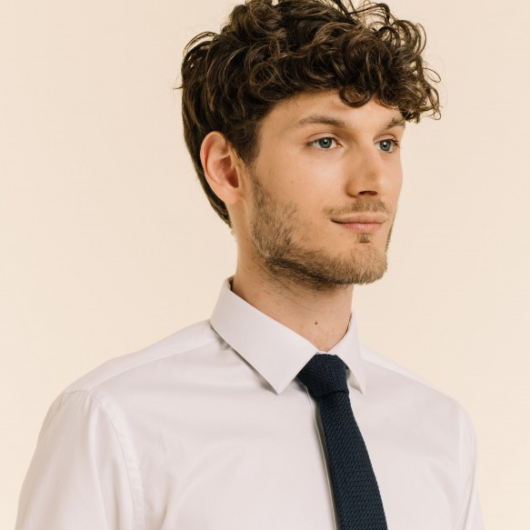 Navy Blue Silk Grenadine Tie