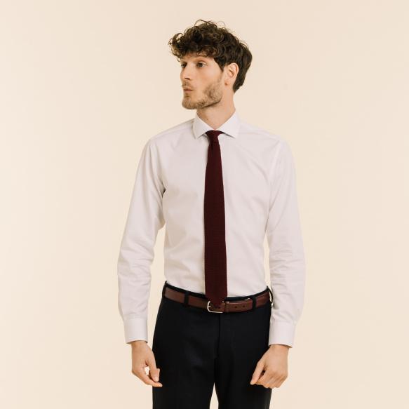 Wool burgundy knitted tie