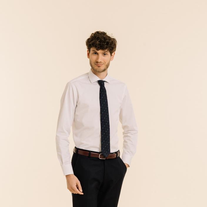 Blue with Polka-Dots Silk Grenadine Slim Tie