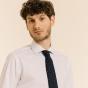 Cravate étroite grenadine de soie bleue à pois