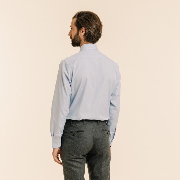 Classic fit light blue checks poplin shirt