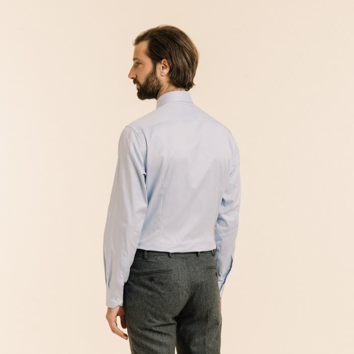 Slim fit herringbone blue shirt