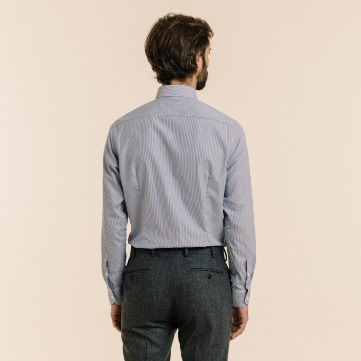 Extra-Slim Dark Blue Small Stripe Shirt