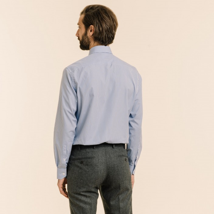 Classic fit blue gingham poplin shit