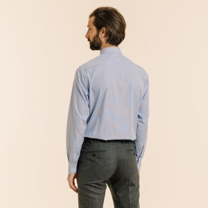 Blue Gingham Shirt With French Collar