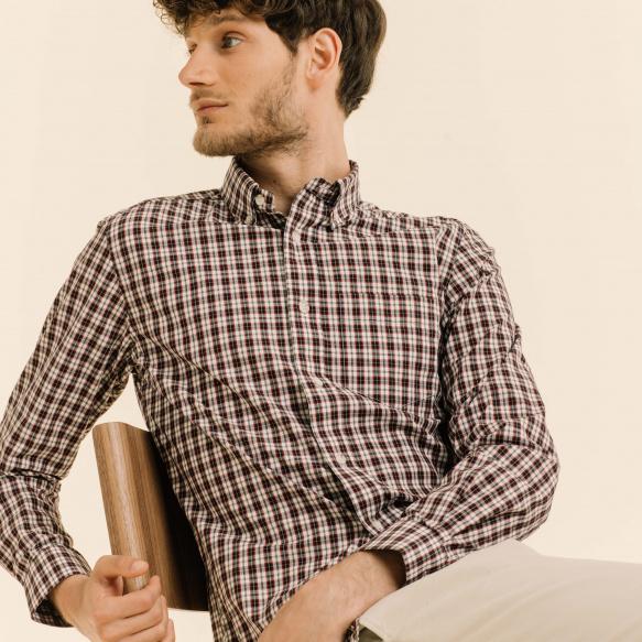 Chemise décontractée en popeline à carreaux japonais