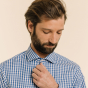 Chemise classique en popeline à grands carreaux bleus