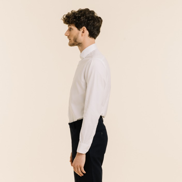 Slim fit premium white twill shirt