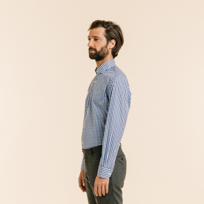 Extra-Slim Blue Check Shirt