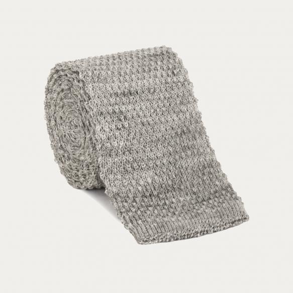 Cravate grise en maille de lin