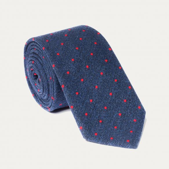 Cravate bleue à pois rouges