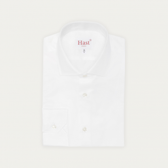 Slim fit white twill shirt