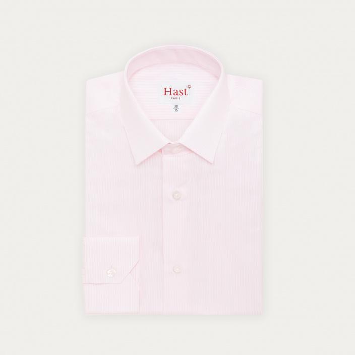 Chemise classique en popeline à petites rayures roses