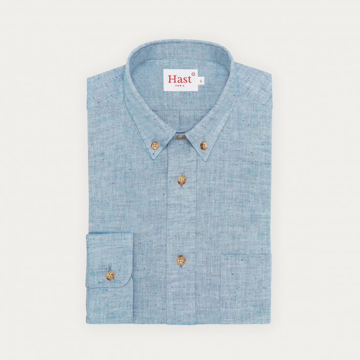 Chemise décontractée en chambray texturé bleu