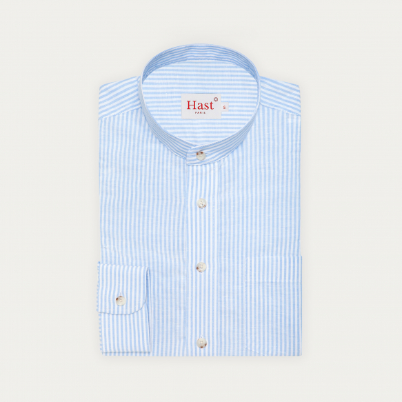 Chemise décontractée en lin et coton à rayures bleues