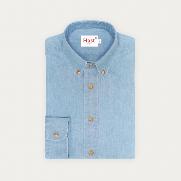 Relaxed fit blue chambray...